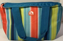 Igloo Insulated Lunch Bag Striped Teal Blue Orange 12x8x6 School Picnic ... - $16.90