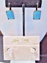 CHUNKY KIRKS FOLLY DESIGNER SIGNED PIERCED EARRINGS FAUX TURQUOISE COLOR... - $34.00
