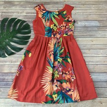 Ellen Tracy Tropical Print Dress Size 10 Red Green Floral Sleeveless Poc... - $22.96