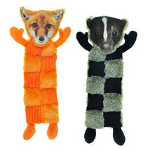 """Large Dog Toy Squeaker Mats 11 Squeaks 18"""" Long Less Mess Choose Fox or Skunk"""