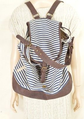 Steve Madden Girl bag backpack canvas blue white stripe brown faux leather