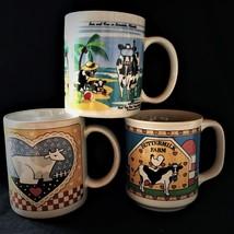 3 Cow mugs cups glazed porcelain Sarasota various maker designs heart Bu... - $3.39