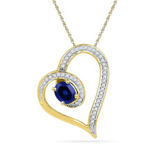 10kt Yellow Gold Womens Oval Lab-Created Blue Sapphire Heart Outline Pen... - $191.86