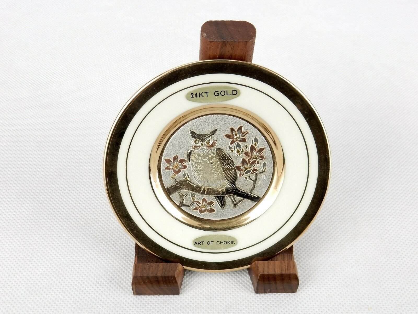 "Primary image for Art Of Chokin 4"" Collector Plate, Owl Etched In Copper, 14k Gold On Porcelain"