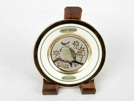"Art Of Chokin 4"" Collector Plate, Owl Etched In Copper, 14k Gold On Porc... - $14.65"
