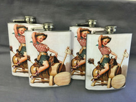 Set of 4 Pin Up Girl D 86 Flasks 8oz Stainless Steel Drinking Whiskey - $26.68