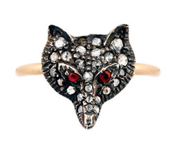 Victorian 0.48ct Rose Cut Diamond Ruby Designer Wedding Ring - $310.42