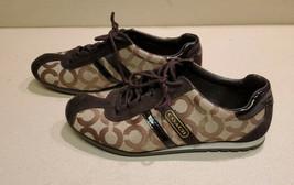 Coach Kathleen Signature Brown Gold Canvas Leather Sneakers Shoes Sz 8M Q511 - $29.70