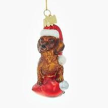 "KSA 3.5"" Noble Gems Dachshund in Santa Hat C7 Glass Christmas Ornament - $14.59"