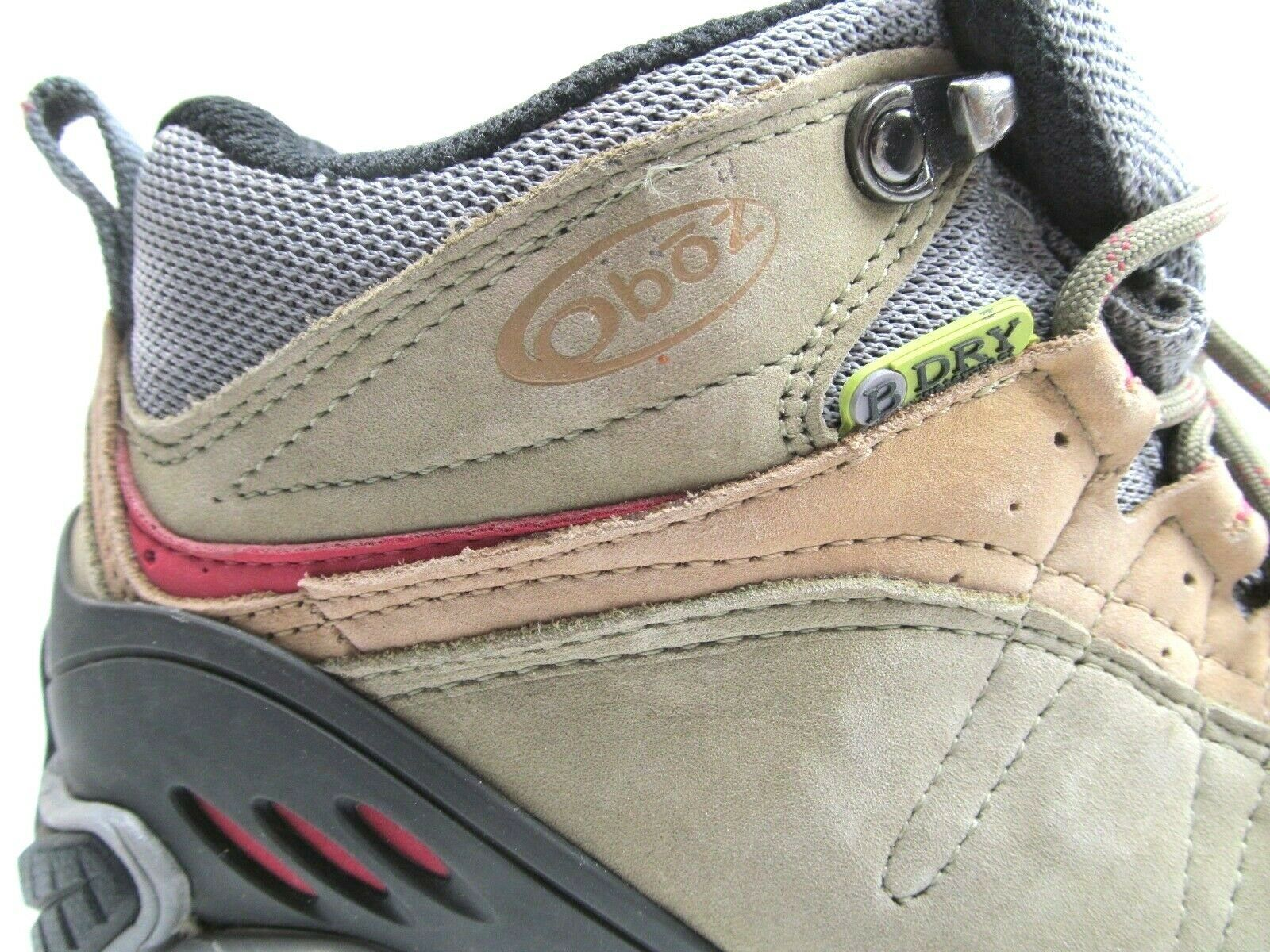 Oboz B Dry Yellowstone Tan And Red Womens Hiking Shoes Size 7.5 Lace Up