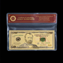 WR $50 Fifty Dollar Note Colored Gold US Banknote Collector 70th Birthda... - $4.42