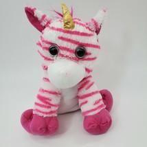 "12"" Kellytoy Zebra Unicorn Pink White Gold Horn Plush Stuffed Animal Toy B350 - $19.97"