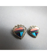 VTG Heart Earrings Southwestern Inlaid Multi Stone Turquoise Marcasite S... - $49.49