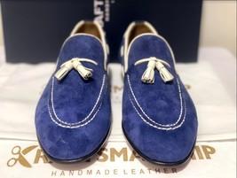 Handmade Men's Blue Suede Slip Ons Loafer Dress/Formal Shoes image 5