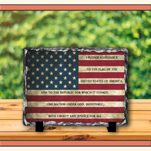 """American Flag with The Pledge of Allegiance 7.5""""x 11.5"""" Slate Plaque - $70.95"""