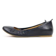 New J Crew Ballet Flats Dark Navy Blue Round Toe Slip On Leather Upper 7.5 - $24.79