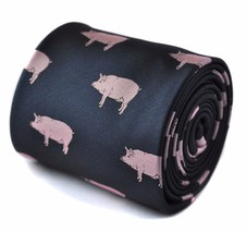 Frederick Thomas navy tie with pig embroidered design FT1532