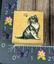 All Night Media Love Kitten Rubber Stamp 262D Cat Heart Wood #H95 - $9.89