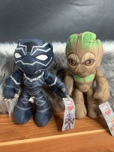 """Black Panther Groot Marvel Flexers Posable Plush Doll NWT 9"""" Lot Of 2 - $18.99"""