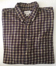 JCrew Yellow and Black Checkered Plaid Flannel Long Sleeve Camp Shirt Large L - $39.99