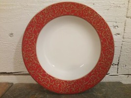 Mikasa Parchment Red Rim Soup Bowls Red Gold Rimmed Multiples Available - $6.92