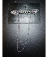 Free People antique silver black tone leaf bobby pins connecting chain-N... - $9.46