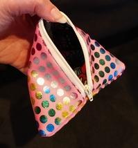 Pyramid Bag/Wristlet/Gift Bag - Pink Hologram/Holographic shiny polka dots image 4