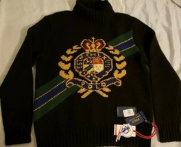 Polo Ralph Lauren Retro Wool Crest Ski Turtleneck Knit Sweater MSRP $368... - $287.09
