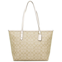 NWT COACH Signature CityZip Top Leather Trimmed Large Tote BEIGE LT KHAK... - $126.72