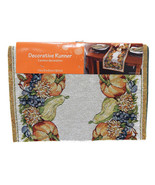 Table Runner Tapestry Fall Autumn Thanksgiving Pumpkin Fruit Mums Leaves... - $15.95