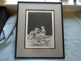 Fine Art Drawing Of Maasai Warriors Grooming Rungu On The Ground Signed ... - $32.89