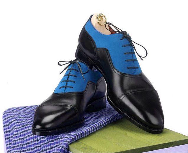 Handmade Men's Black and Blue Two Tone Lace Up Dress/Formal Leather & Suede Shoe