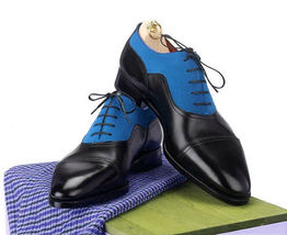 Handmade Men's Black and Blue Two Tone Lace Up Dress/Formal Leather & Suede Shoe image 1