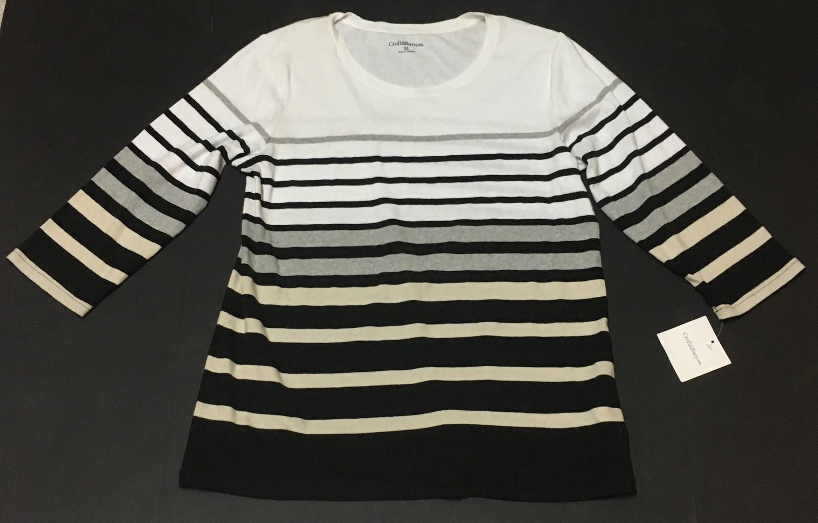 Croft & Barrow Women's Striped Blouse Top Shirt Sz XL