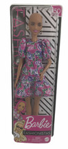 Barbie Fashionista Doll #150 Bald w/ Earrings & Pink Floral Dress - $19.79