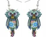 Boho Funky Owl Earrings- Boho Nature Lover, Bird, Flat Lightweight Acrylic, New