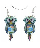 Boho Funky Owl Earrings- Boho Nature Lover, Bird, Flat Lightweight Acryl... - £6.09 GBP