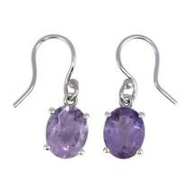 Shine Jewel 925 Sterling Silver Oval Amethyst Dangling Small Earring - $13.61