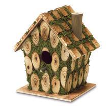#10037921 *Knotty Wood Moss-Covered Bird House* - £9.57 GBP