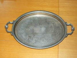 Vintage Silver Plated Shell Twin Handle Oval Gallery Serving Tray Large ... - $82.64