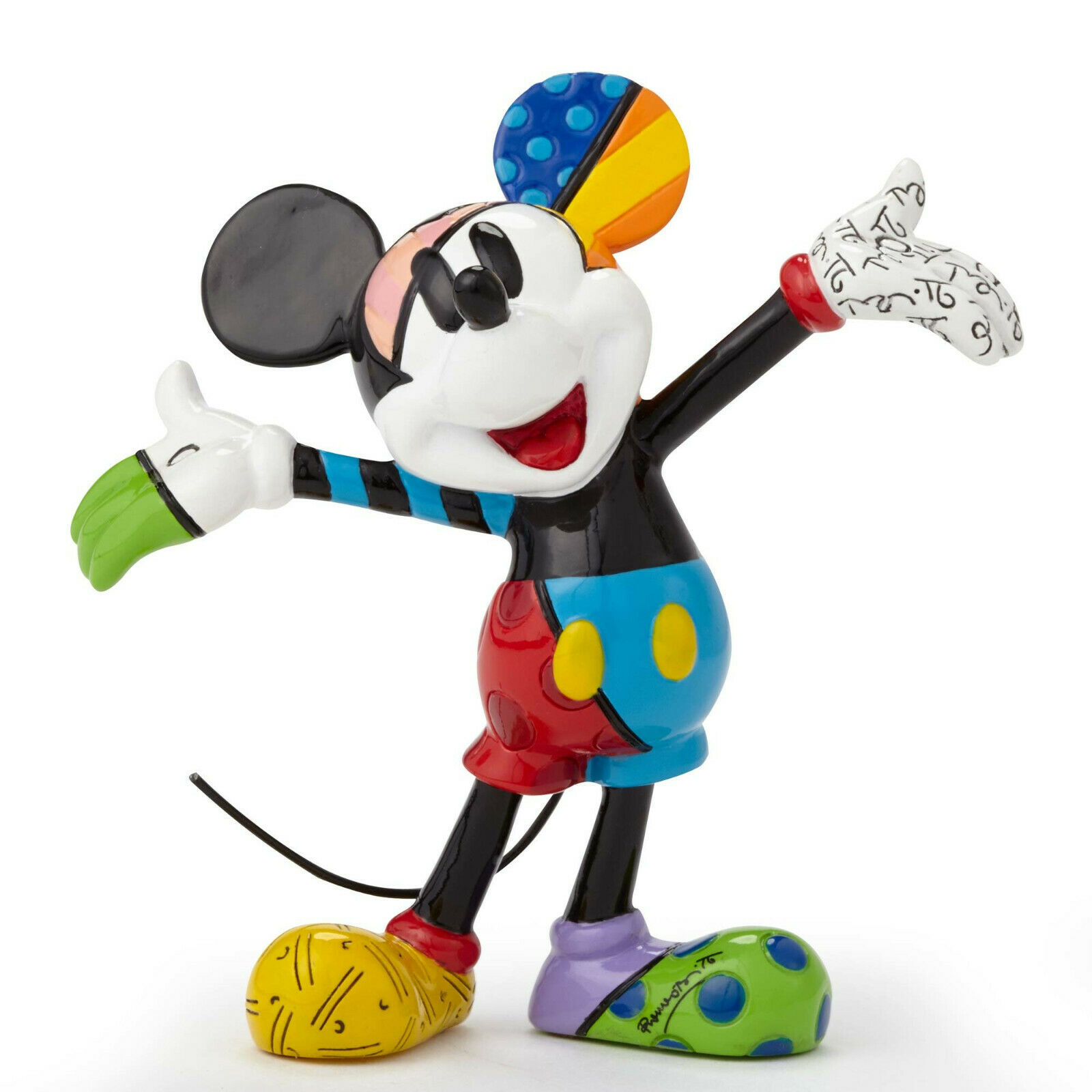 "3.25"" Disney Britto Mickey Mouse Mini 3 Dimensional Figurine Stone Resin"