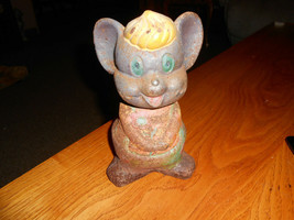 CAST IRON MOUSE HOLDING FLOWER COIN BANK DOOR STOP VINTAGE ANTIQUE 1930-... - $19.79