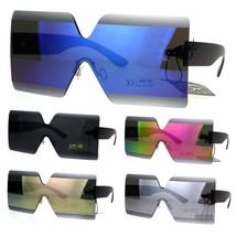 Color Mirror Futuristic Squared Rectangular Robotic Plastic Sunglasses - $12.95