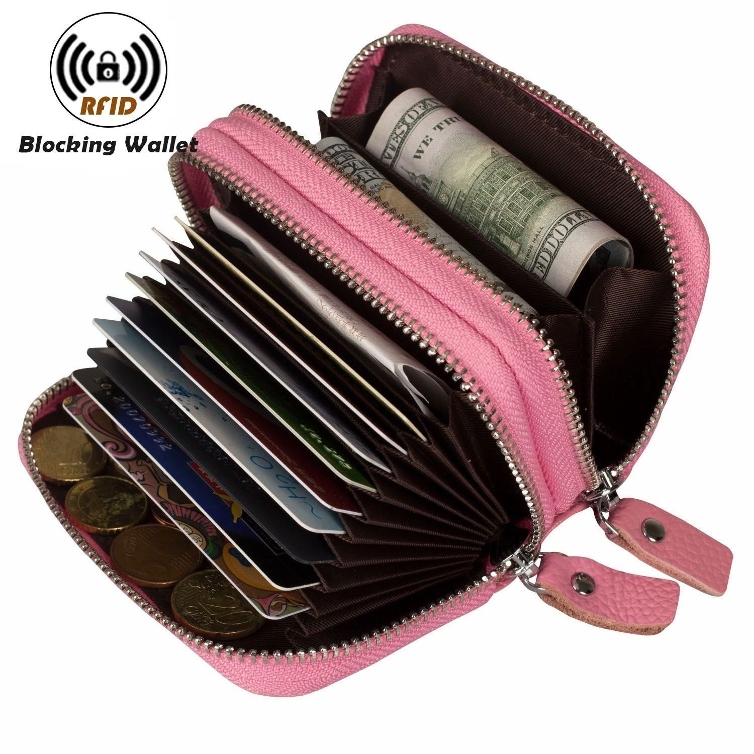 Genuine Leather Wallet Latest Credit Card Safe Holder/Case/ Small Purses Pink