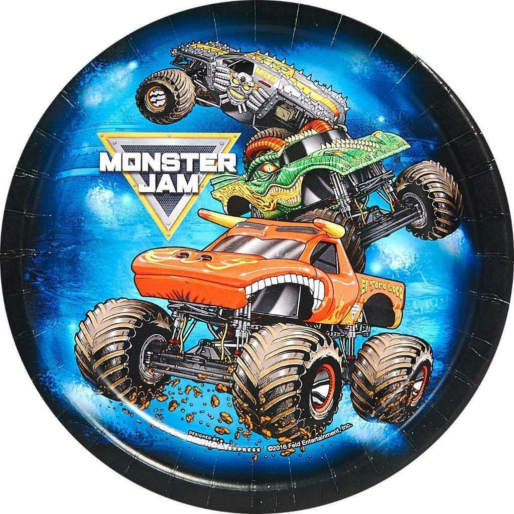 Monster Truck Jam Crunch Time Dessert Plates Birthday Party Supplies 8 Per Pkg