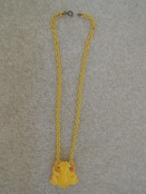 Frog Choker Pendant Yellow Painted Frog Necklace on Yellow Chain Vtg 60s... - $9.99