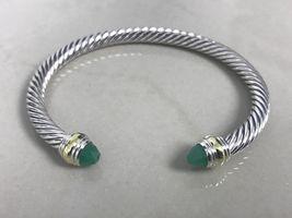 David Yurman Sterling Silver 14k Gold Green Onyx 5mm Cable Classic Bracelet - $279.99