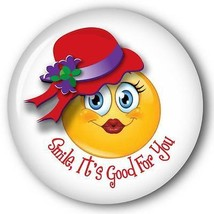 SMILE IT'S GOOD FOR YOU SMILEY FACE - RED HAT PURSE MIRROR W/ ORGANZA BA... - $7.91