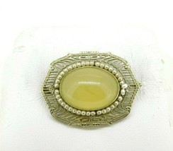14k White Gold Filigree Art Deco Jade Pin with Pearls (#J1029) - $395.00