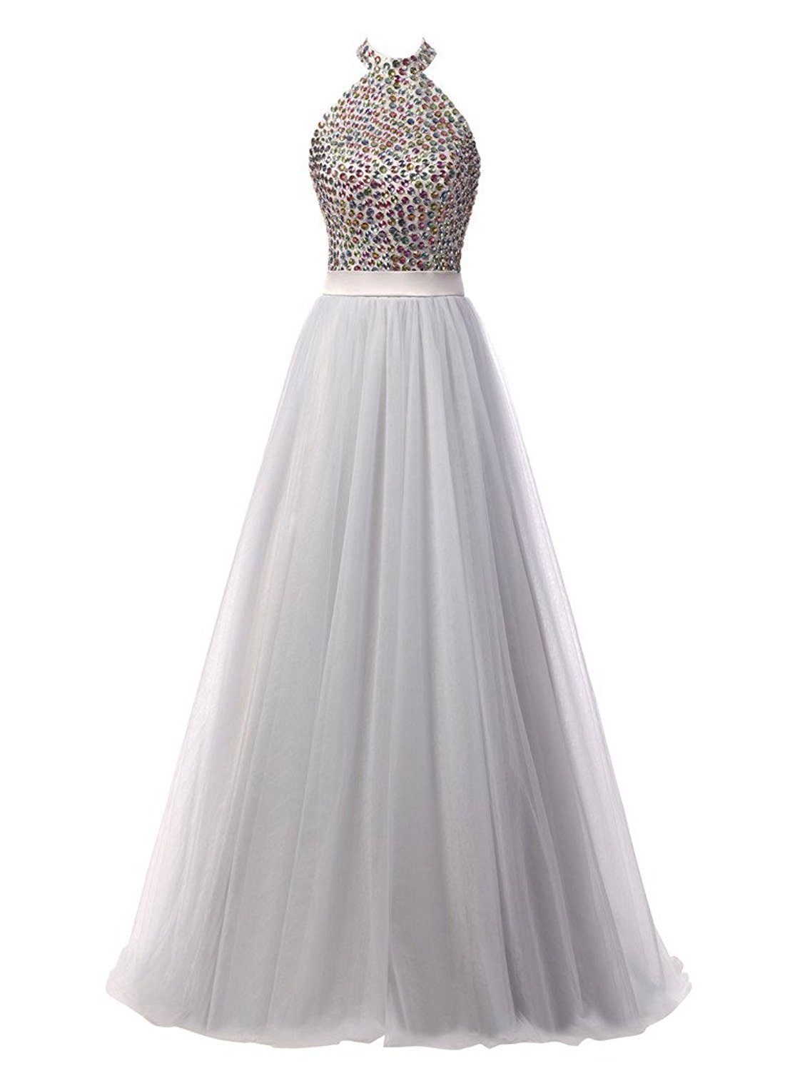 Primary image for Tulle Prom Dress Evening Gown with Beaded Bodice Long White Prom Party Dresses